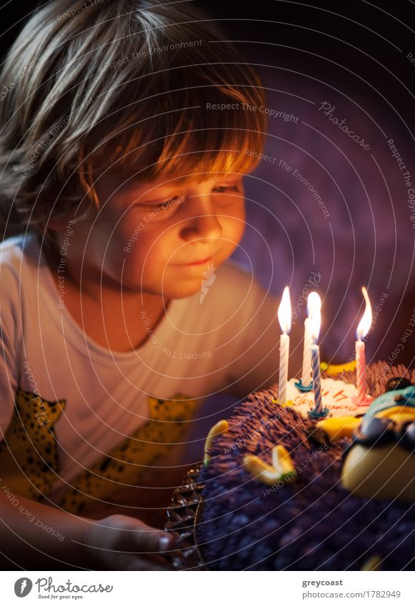 Little boy blows out candles in the cake for his 4th birthday Dessert Joy Happy Face Decoration Feasts & Celebrations Birthday Child Human being Boy (child)