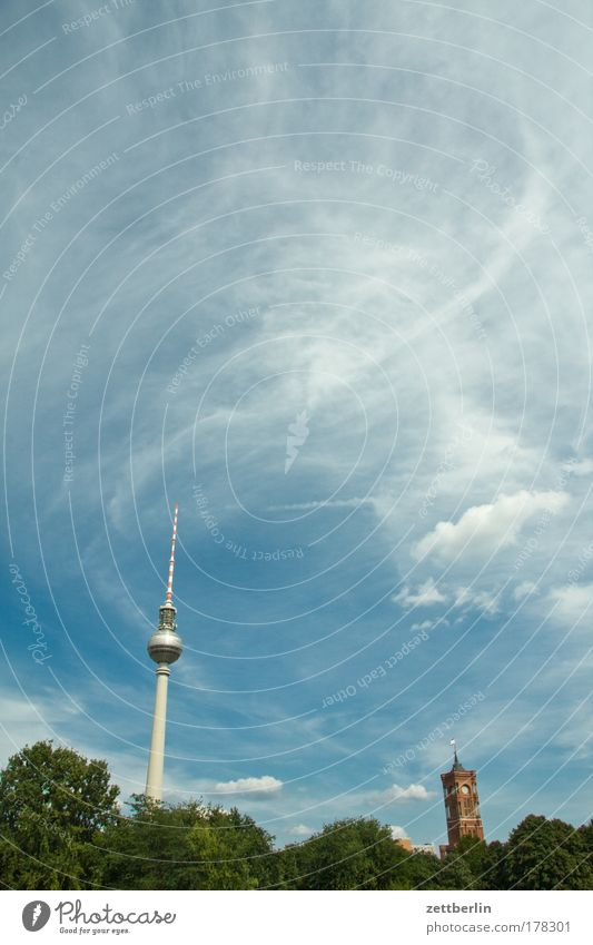 The two towers Berlin Sky Summer Clouds Capital city Downtown Berlin alex. alexanderplatz Berlin TV Tower Television tower telegurke telespargel Rotes Rathaus