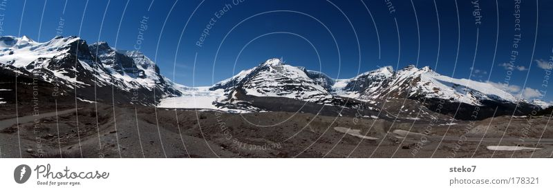thawed Colour photo Exterior shot Deserted Sunlight Panorama (View) Snow Mountain Landscape Cloudless sky Beautiful weather Ice Frost Snowcapped peak Glacier