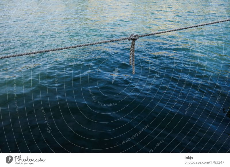 Blue Water Ocean Line Simple Rope Safety To hold on Harbour Firm Navigation Diagonal Surface of water Smoothness Maritime Knot