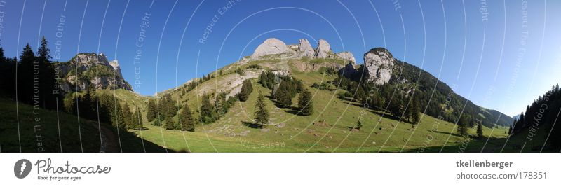 Gämsblick Colour photo Exterior shot Deserted Copy Space top Day Sunlight Panorama (View) Wide angle Tourism Trip Summer Summer vacation Mountain Nature