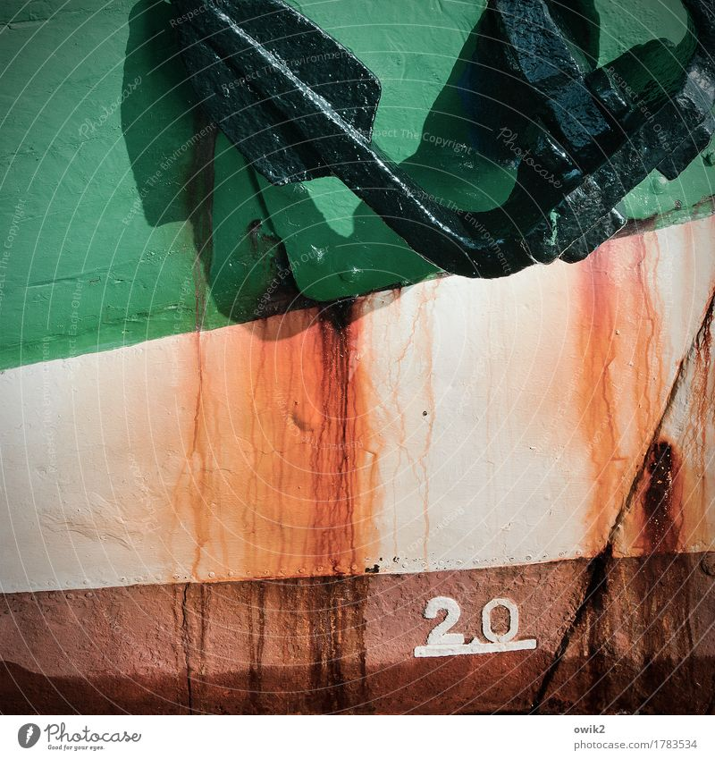 bow Navigation Sailing ship Anchor Ship's side Metal Rust Digits and numbers Old Firm Maritime Trashy Brown Green Orange Transience Robust Bow Colour photo
