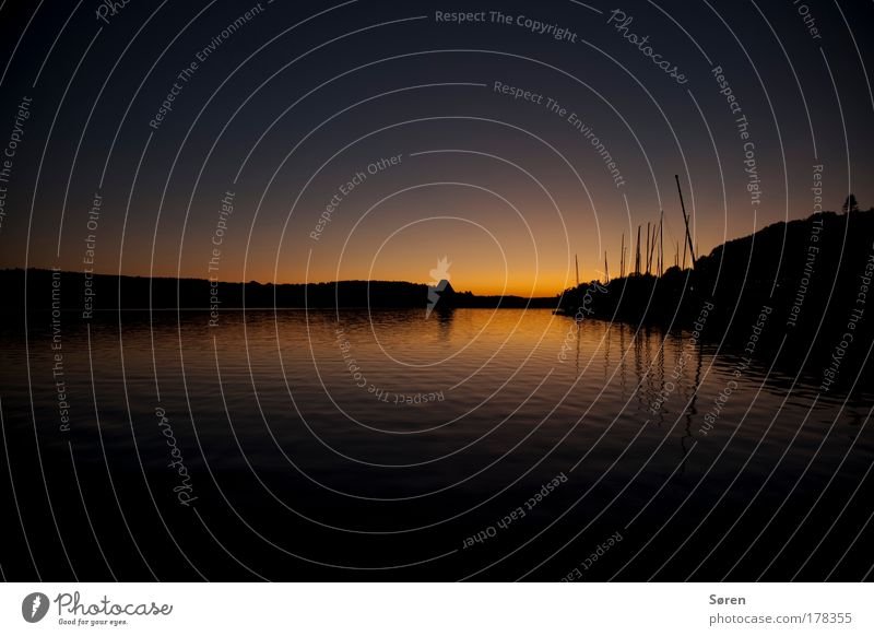 Sunrise Sailing Subdued colour Multicoloured Exterior shot Evening Twilight Light Shadow Silhouette Reflection Sunlight Sunset Panorama (View) Wide angle