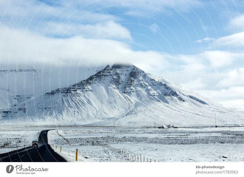 Snowy road in wintertime, Iceland Vacation & Travel Tourism Adventure Far-off places Winter Winter vacation Hill Traffic infrastructure Jump street ring road