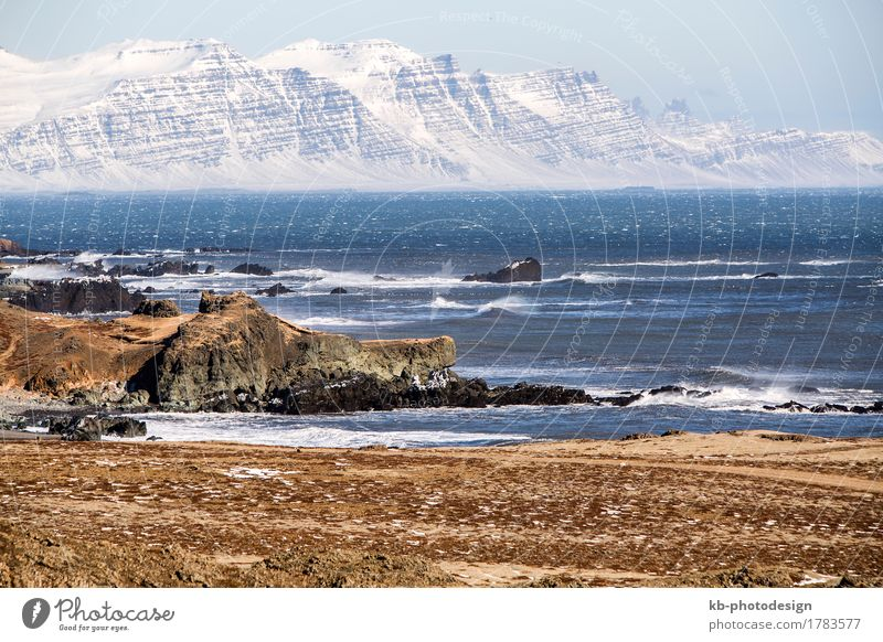 East fjords in Iceland with snowy volcanoes Vacation & Travel Tourism Adventure Far-off places Winter Wind Mountain Fjord east wintertime ring road street