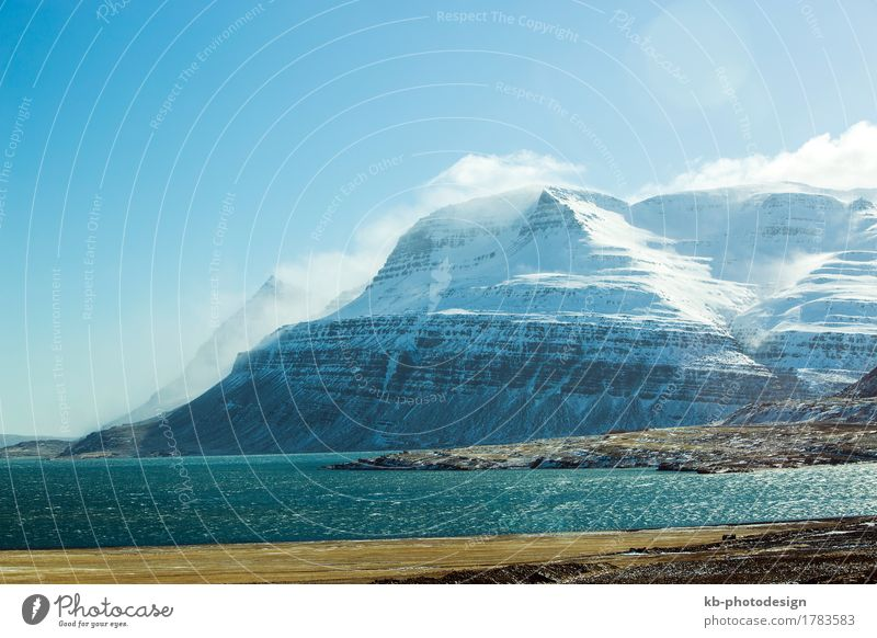 Snowy mountain landscape in Iceland Vacation & Travel Tourism Adventure Far-off places Winter Wind Hill Rock north Akureyri wintertime snow-covered countryside