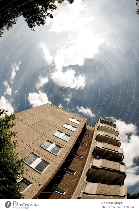 Gorbitz Colour photo Subdued colour Exterior shot Deserted Copy Space top Day Light Sunlight Sunbeam Back-light Fisheye Flat (apartment) Sky Clouds