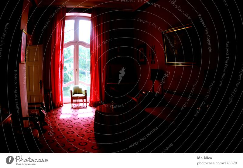 Red Dark Window Room Architecture Chair Mirror Interior design Castle Luxury Furniture Living room Drape Noble Ancient Carpet