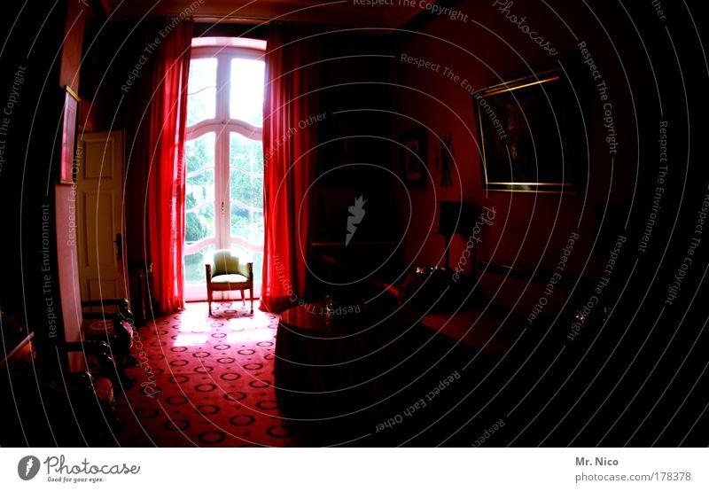 Red Dark Window Room Architecture Chair Mirror Interior design Castle Luxury Furniture Living room Drape Noble Ancient Carpet