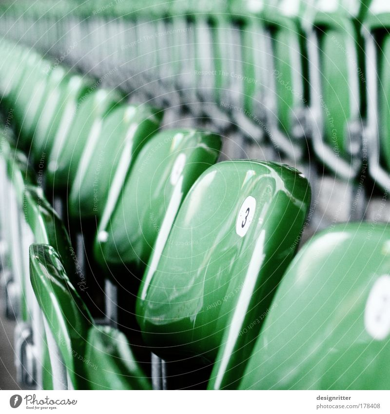 standing ovation Colour photo Subdued colour Close-up Detail Deserted Shallow depth of field Sporting Complex Stadium 3 Maximum Central perspective Glittering