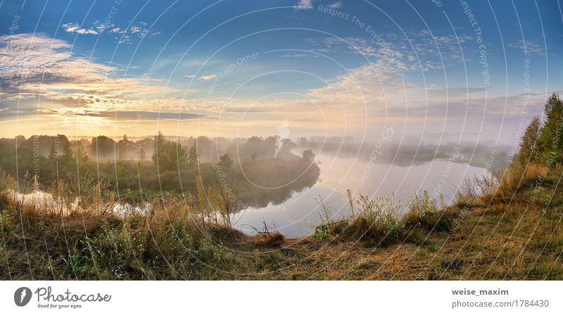 Foggy river in the autumn morning Vacation & Travel Tourism Trip Freedom Summer Beach Wallpaper Nature Landscape Sky Clouds Sunrise Sunset Autumn
