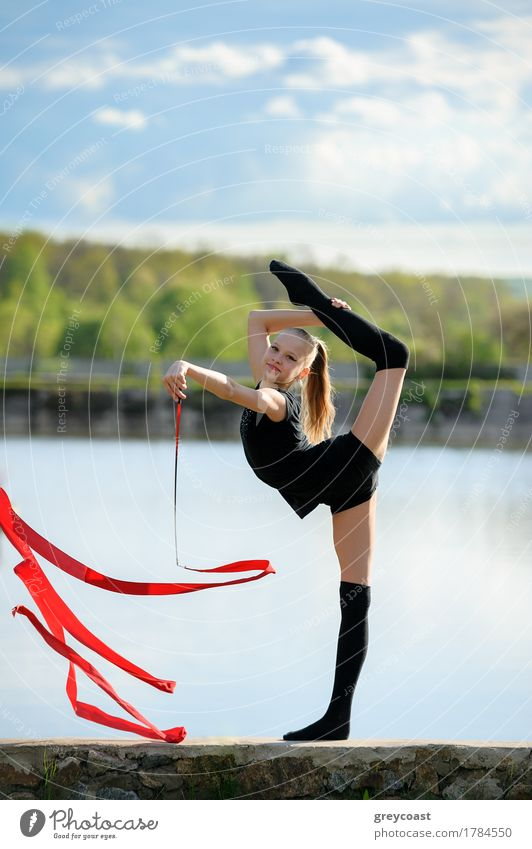 Rhythmic Gymnast in Vertical Split with Ribbon Human being Woman Youth (Young adults) Summer White Girl Adults Sports Feminine Garden Body Blonde Smiling