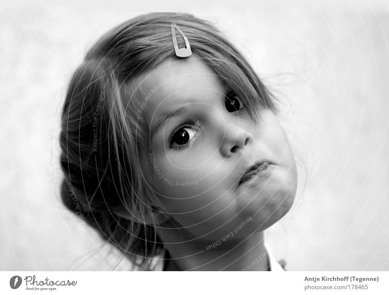 Little witch ;O) Black & white photo Exterior shot Day Portrait photograph Looking Child Girl Infancy Head 8 - 13 years Exceptional Brash Happiness Beautiful