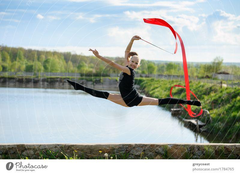 Girls gymnasts warm up. stock photo. Image of health