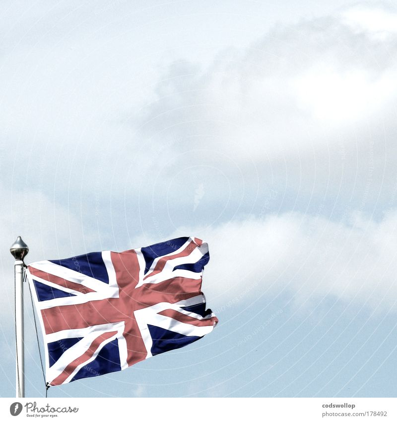 jack Historic Blue Red White Flag Flagpole Union Jack Great Britain Sky Clouds The British Commonwealth of Nations British overseas territories England English