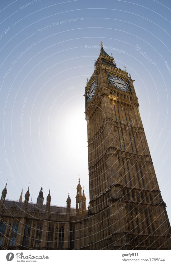Big Ben Elegant Clock Sky Cloudless sky Sun London England Europe Town Capital city Downtown Populated Tower Manmade structures Building Architecture Facade