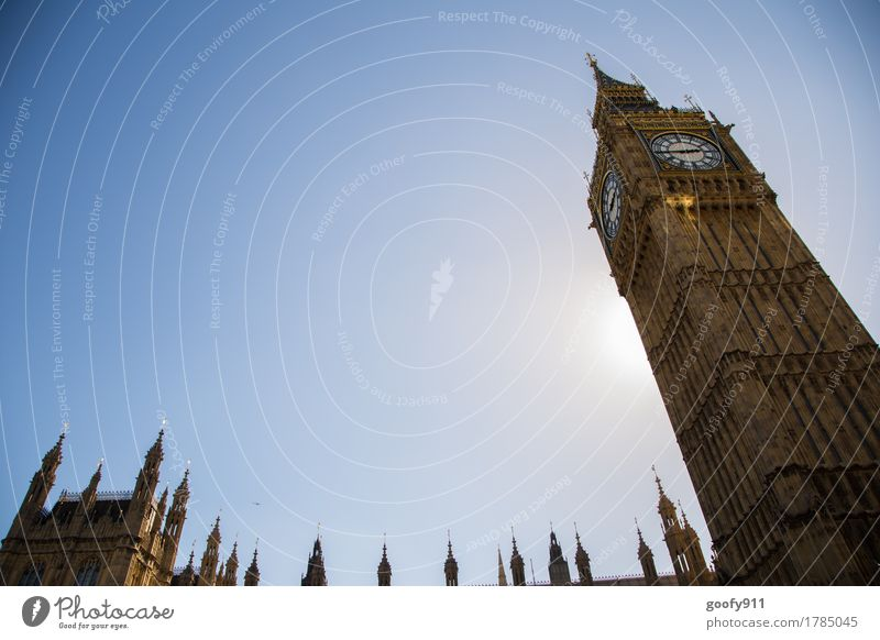 Big Ben Elegant Architecture Sky Cloudless sky Sun Beautiful weather London England Europe Town Capital city Downtown Populated Tower Manmade structures