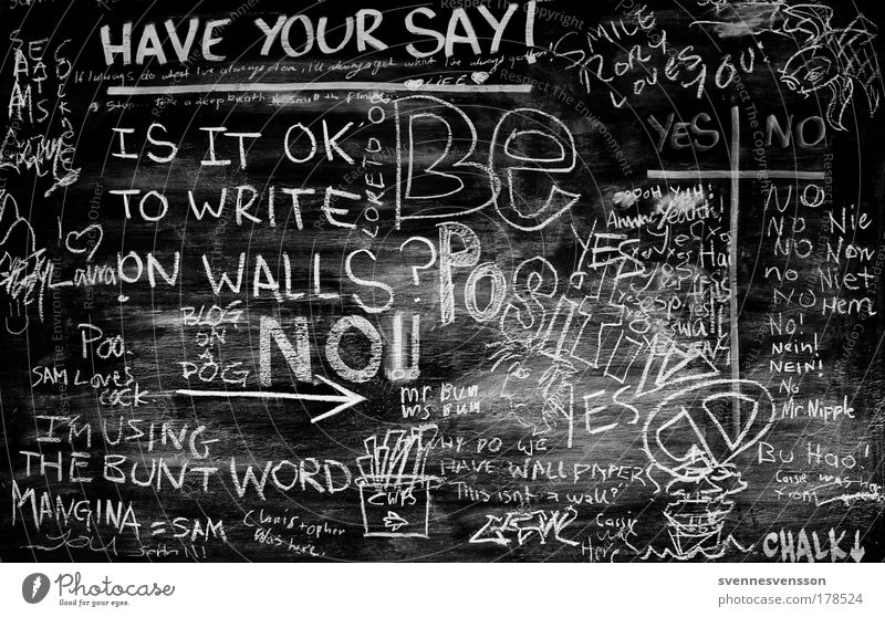 Black & white photo Graffiti Art Inspiration School Characters Room Idea Sign Education Write Information Blackboard Street art Illustration Chalk