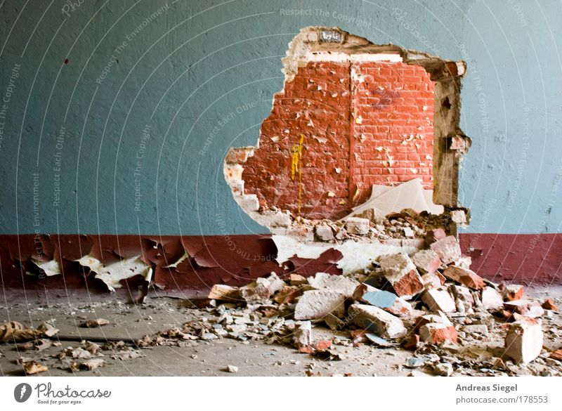 Old Blue Red Wall (building) Building Stone Wall (barrier) Brown Dirty Beginning Free Wild Broken Transience Manmade structures Sign
