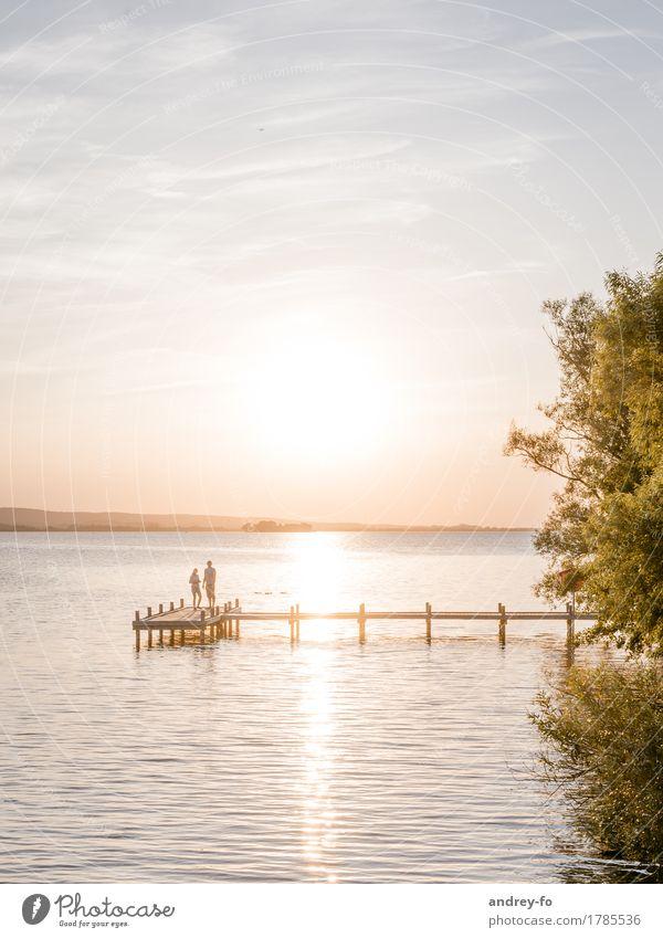 Human being Sky Vacation & Travel Summer Water Sun Love Emotions Coast Feminine Lake Horizon Masculine Dream Idyll Beautiful weather