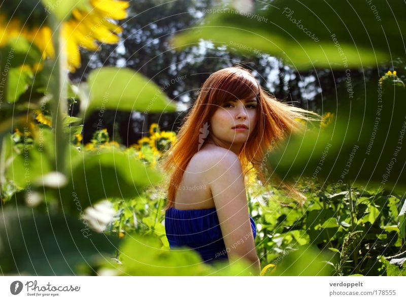 Nature Youth (Young adults) Plant Beautiful Summer Young woman Flower Life Blossom Movement Feminine Lifestyle Hair and hairstyles Freedom Bright Illuminate