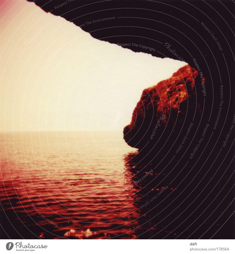 Nature Water Sky Ocean Moody Coast Rock Earth Cave Holga Lomography Cloudless sky