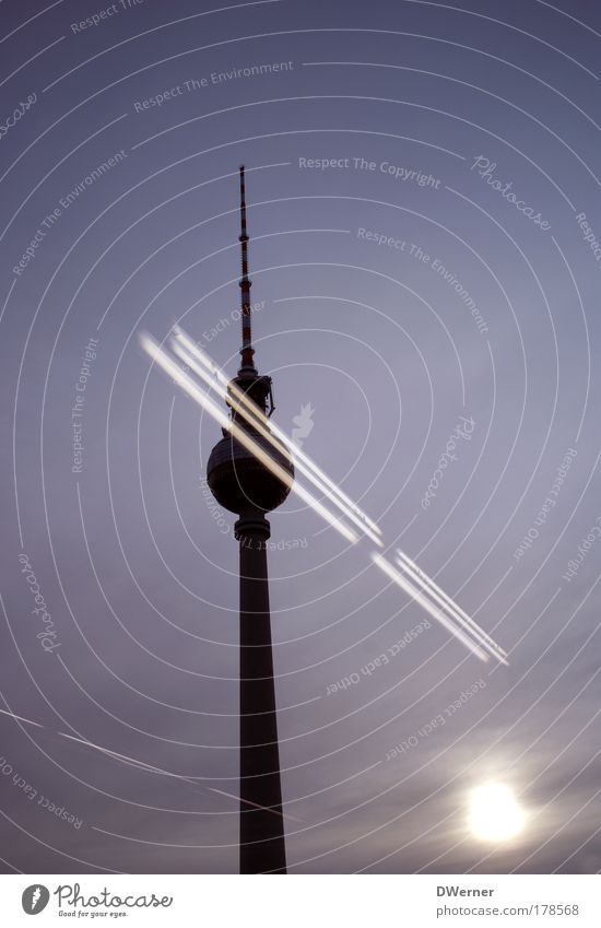 Sky Clouds Berlin Building Power Architecture Tower Night sky Illuminate Manmade structures Television tower Famousness Alexanderplatz Germany Light streak
