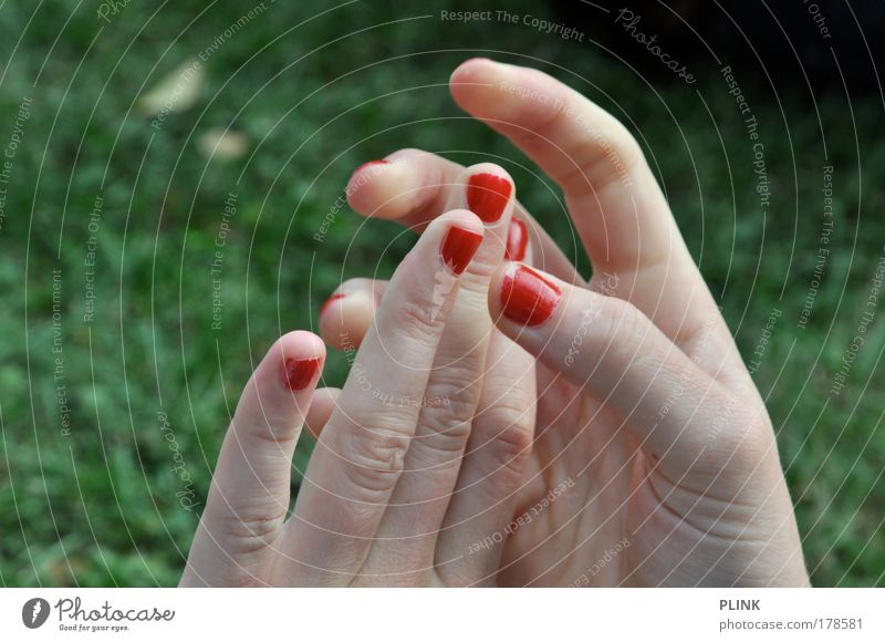 spiderwoman Colour photo Exterior shot Close-up Twilight Shallow depth of field Beautiful Manicure Feminine Young woman Youth (Young adults) Skin Hand Fingers