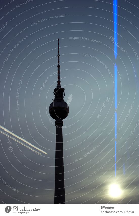 Beautiful Sky Berlin Freedom Building Architecture Tall Stand Television Tower Night sky Infinity Illuminate Manmade structures Lighthouse