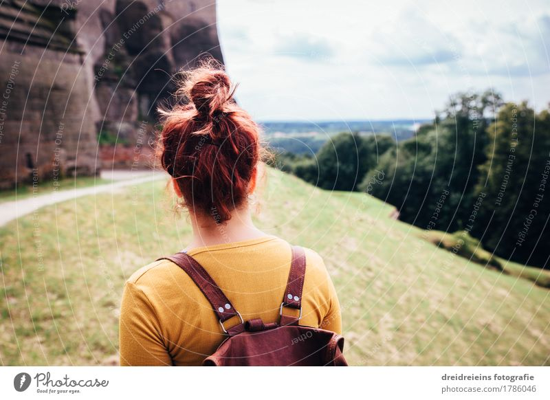 Woman Vacation & Travel Landscape Far-off places Adults Wall (building) Feminine Wall (barrier) Happy Freedom Tourism Horizon Hiking Trip Success