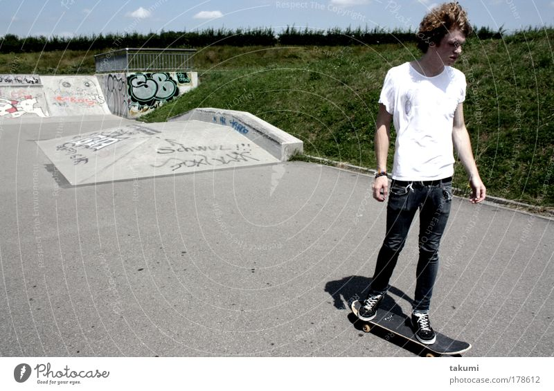 skateboarding Subdued colour Exterior shot Day Shadow Contrast Long shot Forward Sports Human being Masculine Young man Youth (Young adults) 1 18 - 30 years