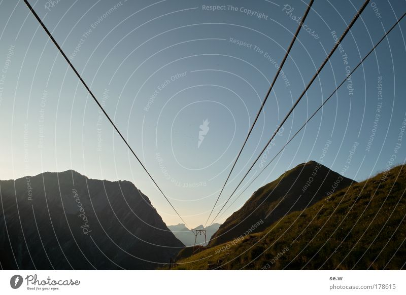Pioneering spirit! Colour photo Exterior shot Deserted Copy Space top Twilight Wide angle material ropeway Sunrise Sunset Summer Beautiful weather Alps Mountain