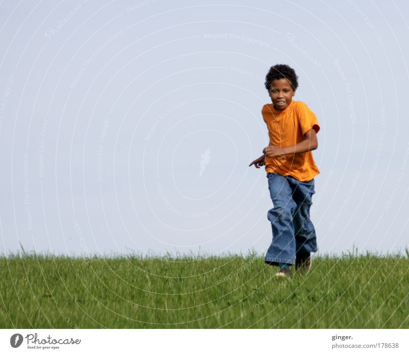 Human being Child Sky Nature Youth (Young adults) Green Summer Meadow Boy (child) Grass Spring Orange Infancy Walking Masculine Happiness