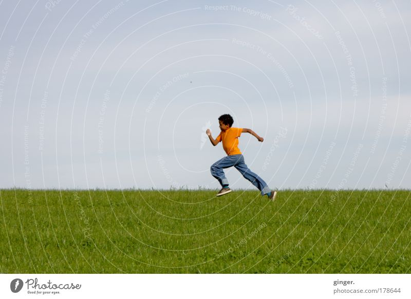 Halfway, almost... Leisure and hobbies Human being Masculine Boy (child) 1 8 - 13 years Child Infancy Nature Landscape Sky Beautiful weather Grass Meadow