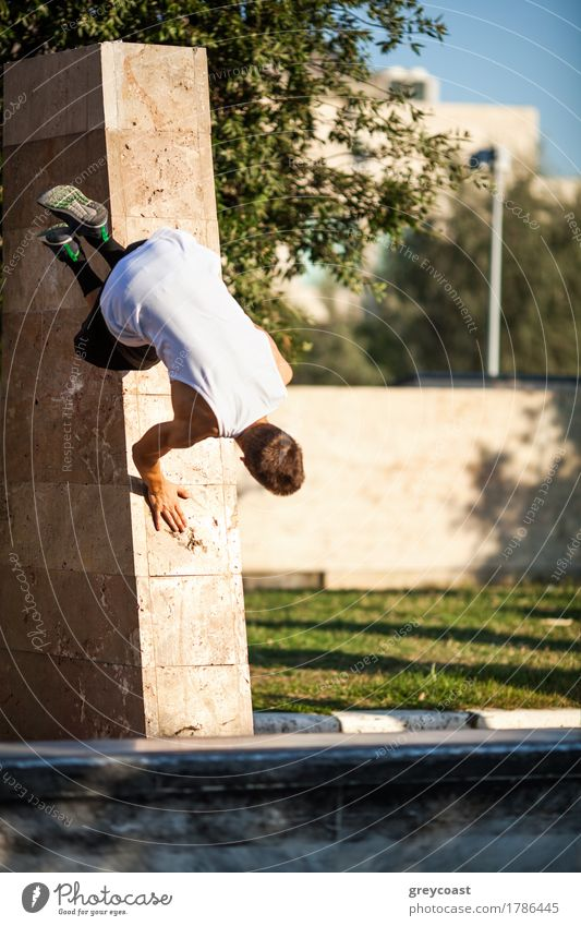 Young athlete showing skills of free running. Parkour trick with city wall Lifestyle Summer Sports Human being Man Adults Tree Town Street Running Movement Jump