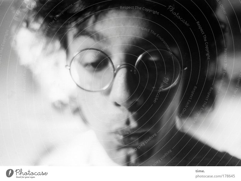 undergraduate degree Man Masculine Looking Black & white photo Eyeglasses Amazed Shadow Light Observe Marvel Mouth Lips Hair and hairstyles
