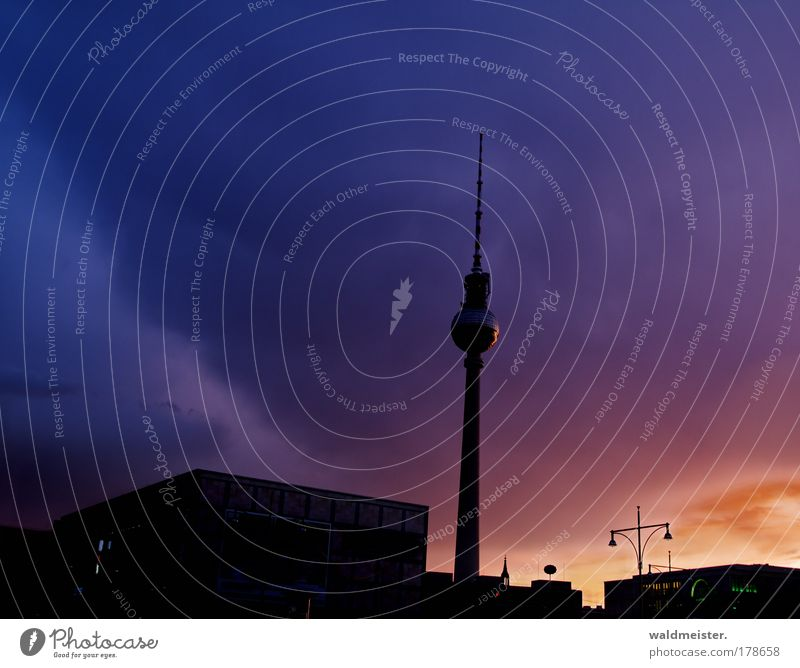La Television Tower 2009 Colour photo Multicoloured Exterior shot Evening Twilight Berlin Capital city Apocalyptic sentiment Whimsical Town Storm