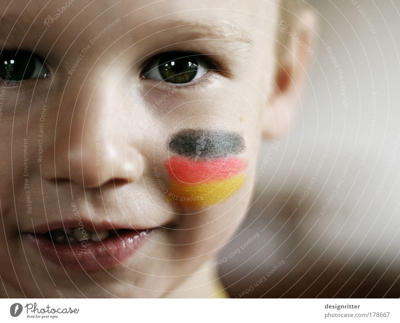 You are Germany Colour photo Subdued colour Close-up Copy Space right Shallow depth of field Portrait photograph Looking into the camera Child Boy (child)