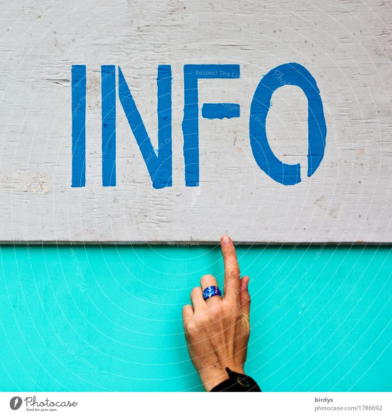 Info, information, notice board with finger pointing, universal Event Economy Trade Services Advertising Industry Company Feminine Hand 1 Human being Characters