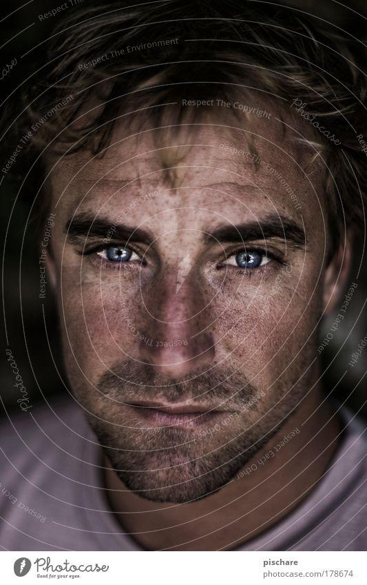 Man Portrait photograph Face Eyes Sadness Lighting Blonde Earnest Designer stubble Maximum aperture