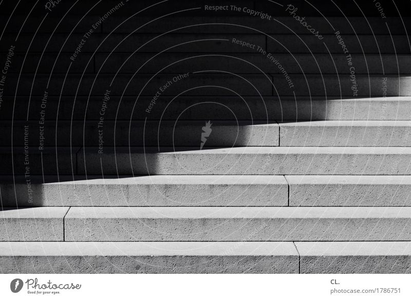 cut Stairs Dark Sharp-edged Fear of the future Mysterious Pecking order Black & white photo Exterior shot Abstract Deserted Day Light Shadow Contrast
