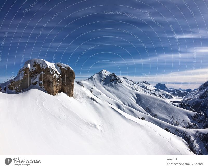Mountain chain Winter Snow Nature Landscape Clouds Sunlight Snowcapped peak Vacation & Travel Old Infinity Blue White Joy Power Calm Cold Environment