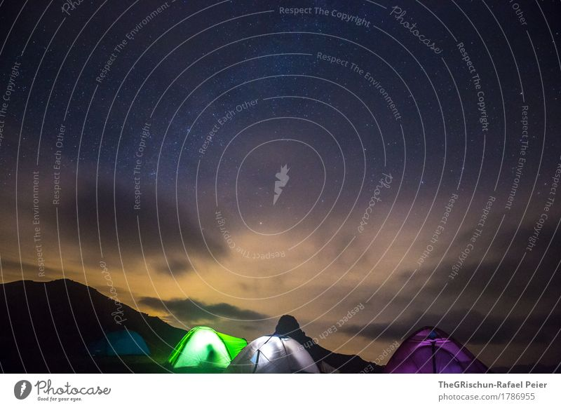 tent camp Nature Blue Green Violet Black White Tent camp Starry sky Milky way Exterior shot Sleep Switzerland peaked miles Silhouette Clouds Long exposure Cold