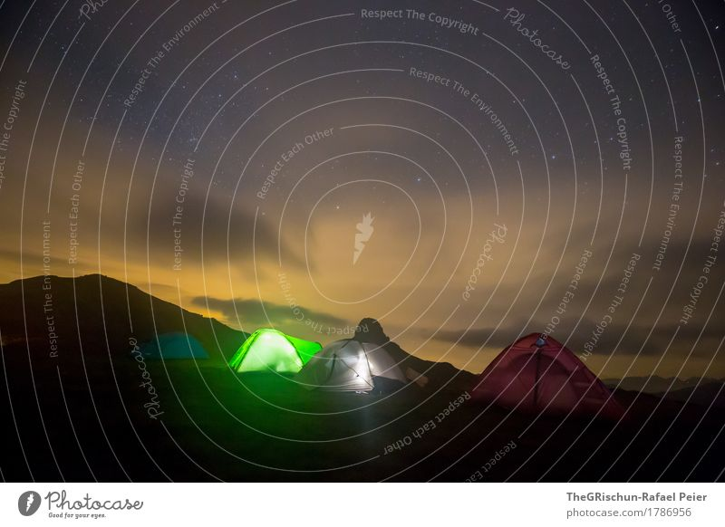 camping Environment Nature Green Red Black Tent camp Light Shadow Mountain Clouds peaked miles Alps Switzerland Sleep Exterior shot Starry sky Colour photo