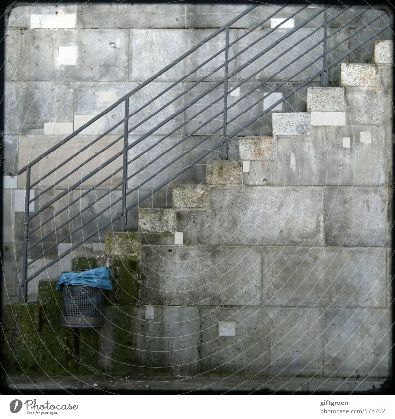 Blue City Wall (building) Gray Wall (barrier) Dirty Stairs Arrangement Gloomy Clean Trash Collection Banister Environmental pollution Recycling Trash container