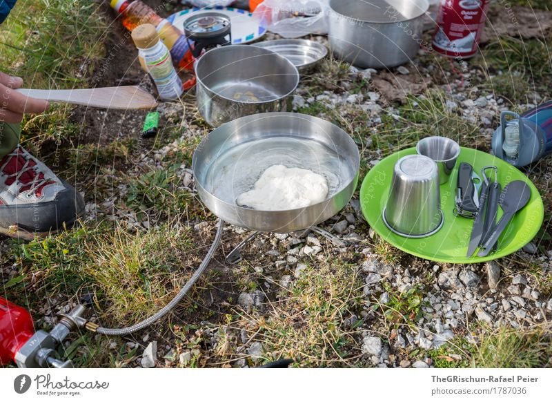morning bread Food Nutrition Eating Breakfast Gray Green Red Silver Camping Cooking Exterior shot Plate Cutlery Bread Make Electric kettle Pan Spoon Fork Mug