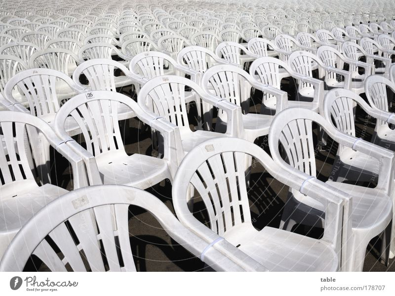 Plastic and Elaste . . . Furniture Chair Event Stand Wait White Hospitality Arrangement Public viewing mass event Colour photo Subdued colour Deserted Sunlight