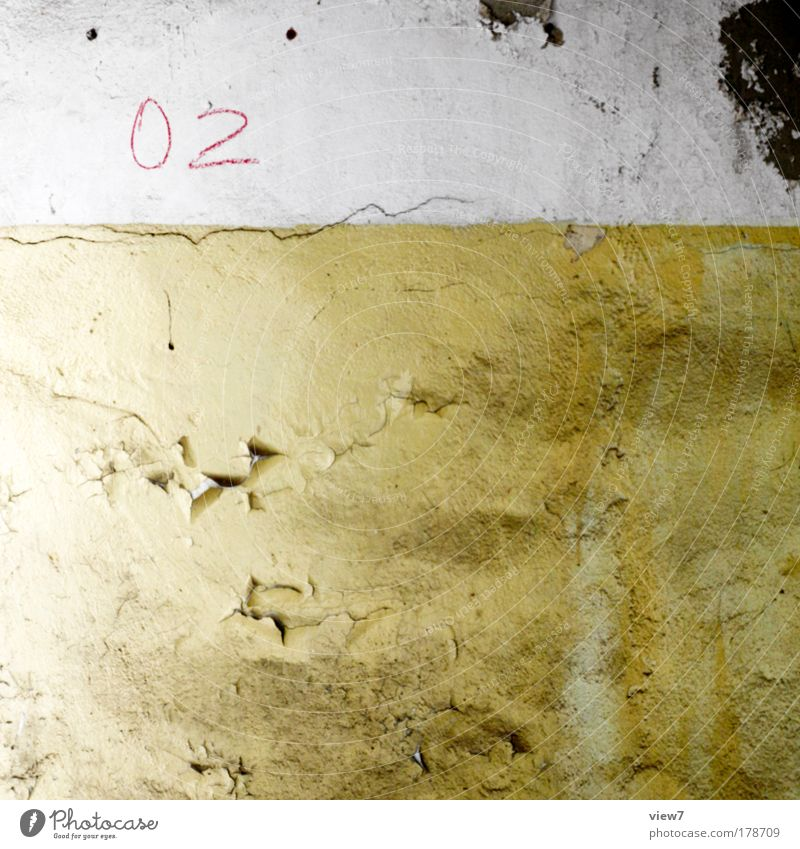 Calm House (Residential Structure) Yellow Colour Cold Wall (building) Above Stone Wall (barrier) Dirty Concrete Facade Simple Decoration Digits and numbers Transience