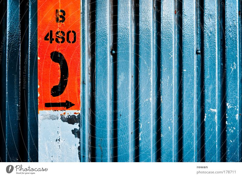 Blue Red Wall (building) Line Metal Characters Telecommunications Telephone Digits and numbers Symbols and metaphors Contact Arrow Direction Technology Clue
