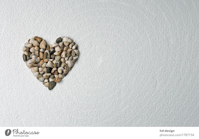 Life Love Stone Decoration Heart Joie de vivre (Vitality) Sign Plaster Valentine's Day Mussel Mother's Day Pebble Flotsam and jetsam